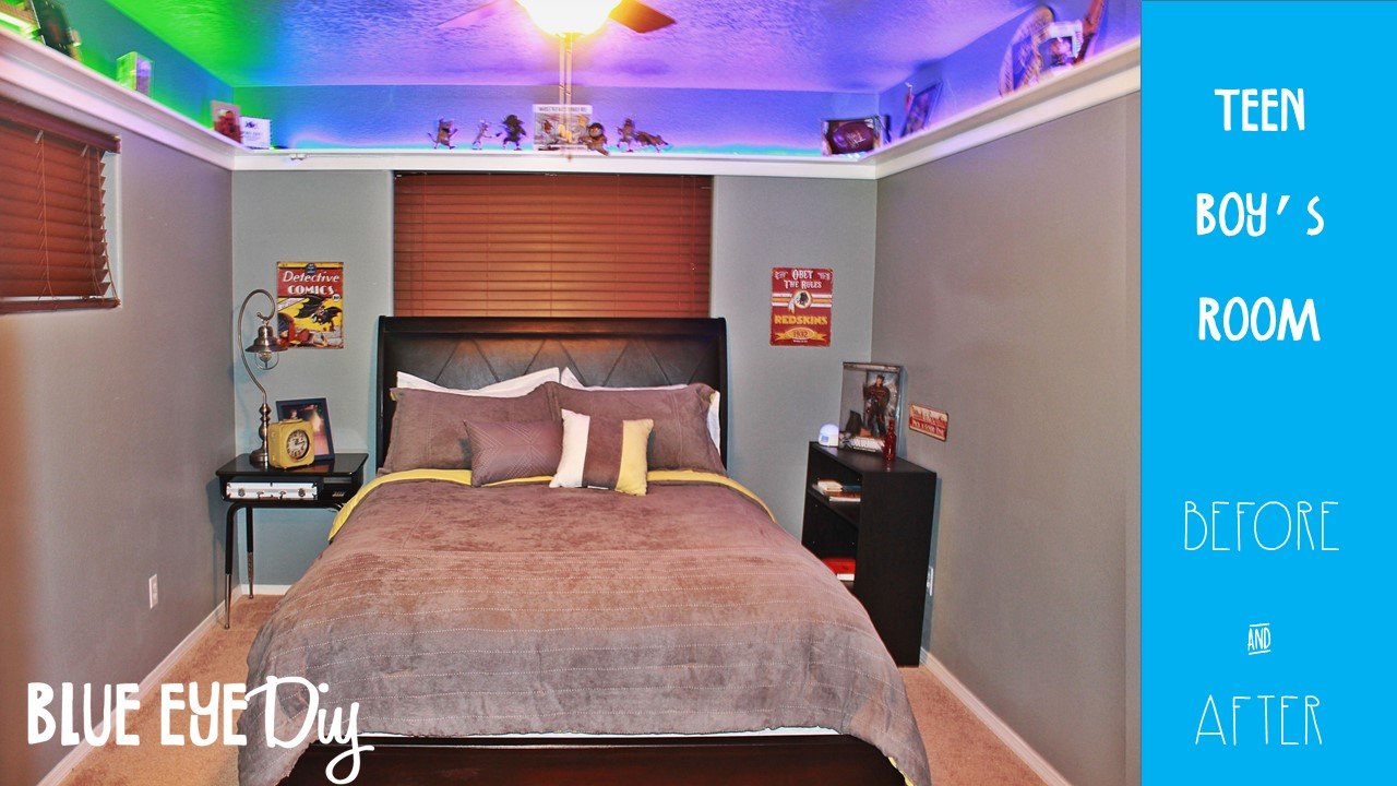 Before And After Teen Boy S Room With Cool Led Shelves