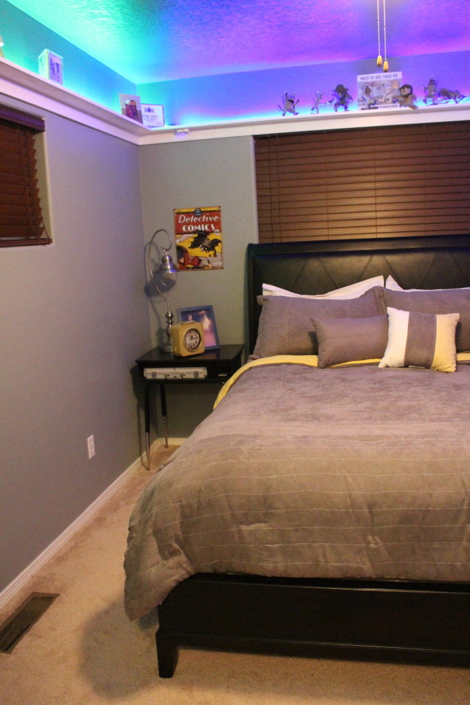 Before And After Teen Boy S Room With Cool Led Shelves Blue Eye Diy