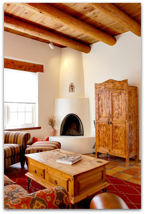 Serving up santa fe style client vaults blue eye diy for Kiva fireplace